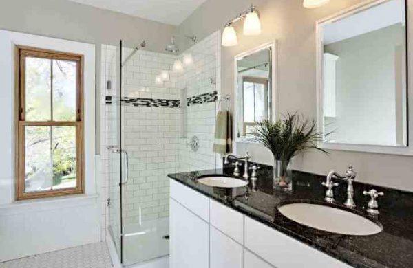 white bathroom remodeling Evanston